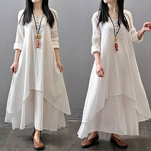 diamondo-new-women-peasant-ethnic-boho-cotton-loose-linen-long-maxi-dress-white-asian-m