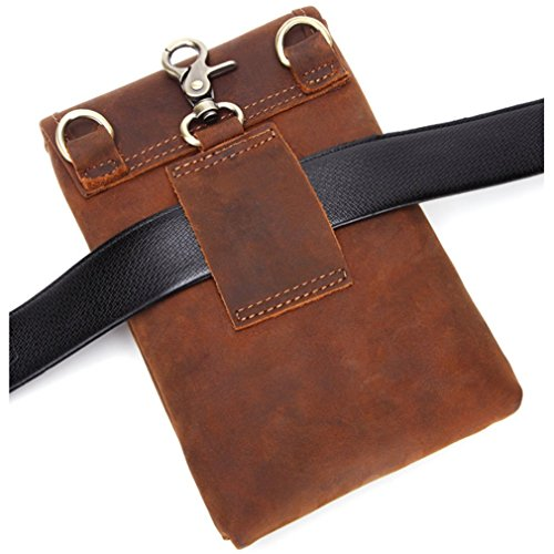 FANGDA Genuine Leather Brown Fanny Small Messenger Shoulder Satchel Waist Bag Pack for Men (Small) by FANGDA (Image #2)