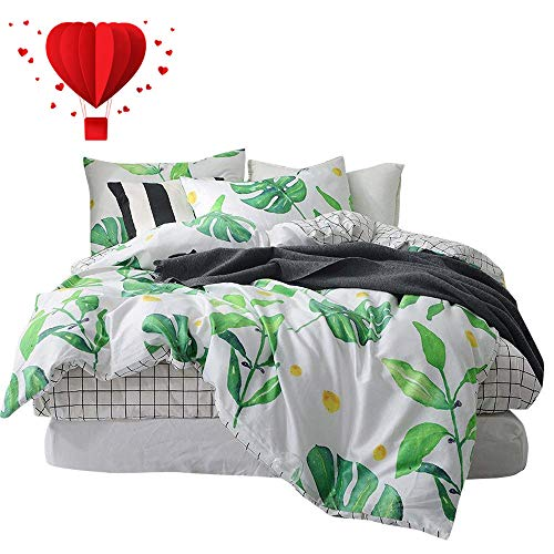 BuLuTu Palm Tree Leaves Print Cotton Kids Bedding Sets Queen for Boys Girls Reversible Nature Lattice Full Duvet Cover Sets White Comforter Cover Zipper Closure with Ties,NO Comforter