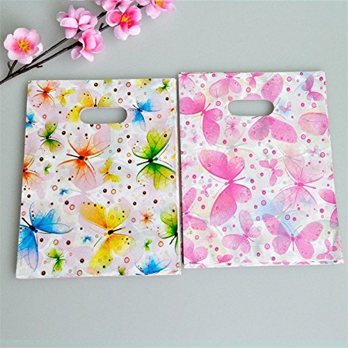 100pcs Jewelry Shopping Bag Plastic Gift Bags With Handle 15x20cm Colorful Butterfly Birthday Plastic Packaging Wedding Favor Katoot -