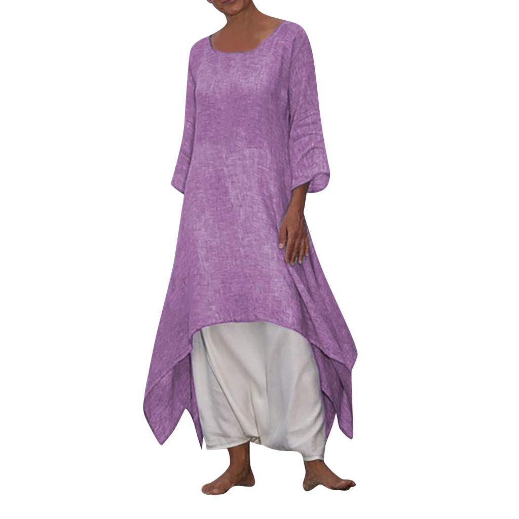 Women's Summer Casual Loose Beach Long Dress O Neck Long Sleeve Split Maxi Dresses Evening Party by Snowfoller-Dress