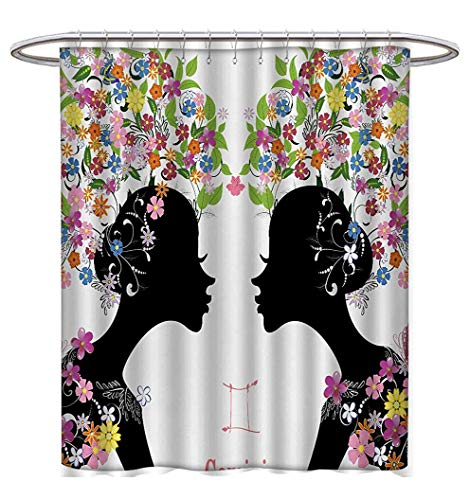 (Anhuthree Zodiac Gemini Shower Curtains 3D Digital Printing Two Young Ladies with Colorful Spring Blossoms and Butterflies Fashion Girls Fabric Bathroom Decor Set with Hooks W72 x L72)
