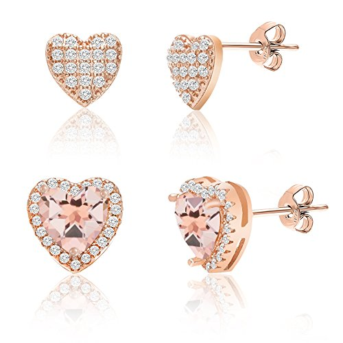 Boys Snowflake Costume Uk (Rose Gold Plated Sterling Silver Created Morganite Glass Earring (Heart & Pave Heart Set))