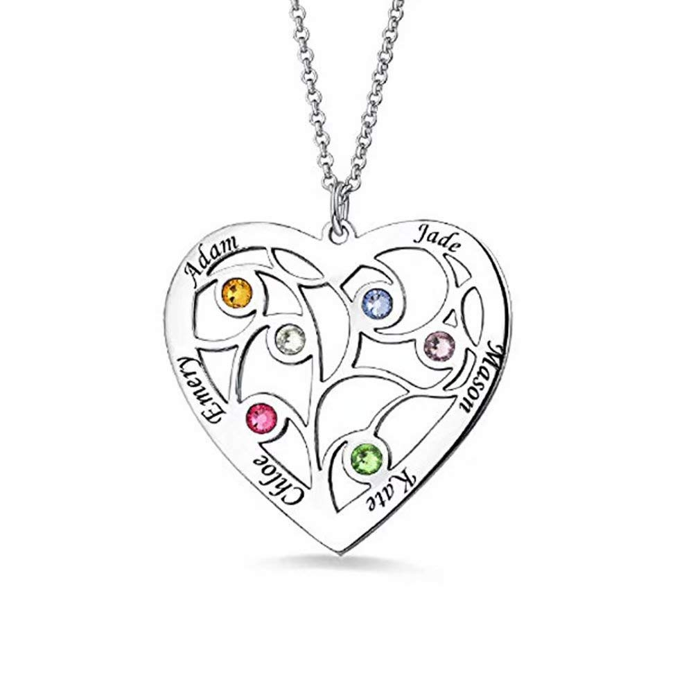 Personalized 1 Heart Simulated Birthstone Mothers Pendant Necklace with 6 Names Family Pendants for Mother Silver by W-bnm23