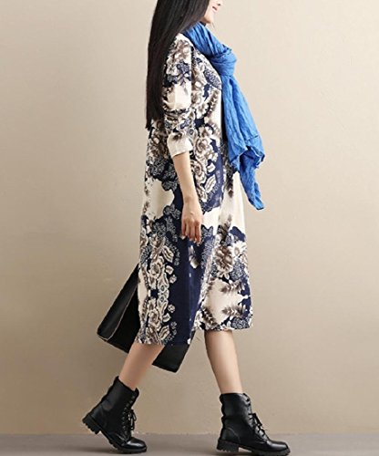 Loose Cotton for Three Dress Printing Long Coolred Women Linen Sleeves FfHEqtxwx