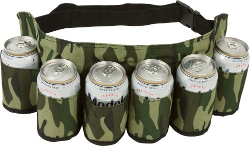 "Beer & Beverage Belt. This beer belt holds up to 6 beverages and has an adjustable strap to comfortably fit any waist. Measures 45"" around at its largest. The belt features a Camouflage design. Our beer belt is the perfect accessory for c..."