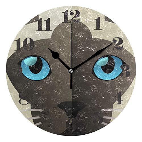 senya Wall Clock Silent Non Ticking, Round Funny Siamese Cat Art Clock for Home Bedroom Office Easy to ()