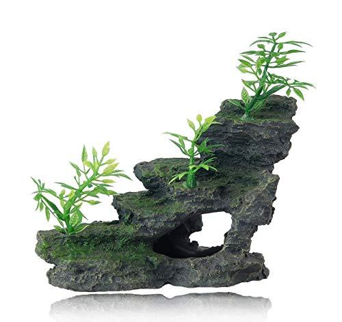 FEDOUR Aquarium Mountain View Stone Ornament, Moss Tree Rock Cave Landscape Artificial Fish Tank Decoration, with 6pcs Small Plants (Olive-Black)