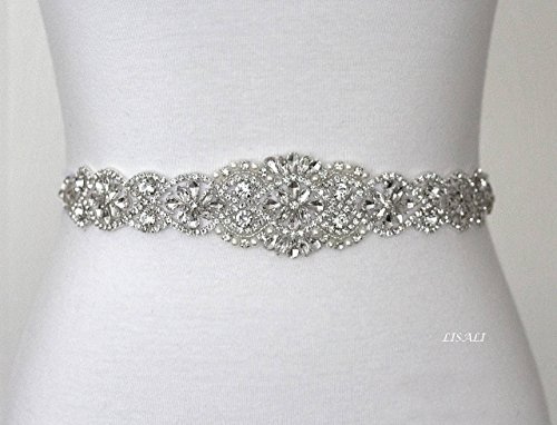 LISALI 17'' Sparkly Wedding Belt, Rhinestone Belt, Bridal Belts, Rhinestone Chain Belt, Crystal Sash Belt, Wedding Dress Belts Crystal by LISALI USA