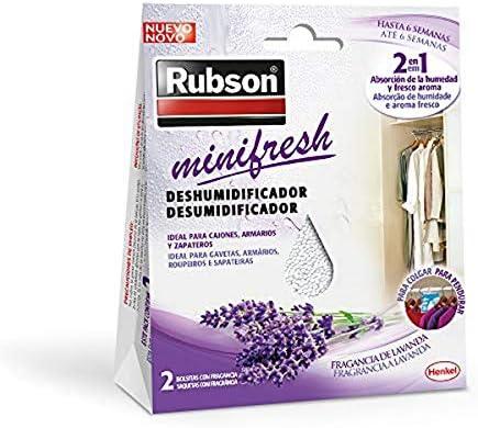 Rubson Minifresh, deshumidificador y ambientador de lavanda, bolsas deshumidificadoras en formato percha, absorbe olores 2 en 1 para hogar y oficina, 2 x 50 g, bolsita: Amazon.es: Bricolaje y herramientas