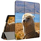 iPad 10.2 Case (2020/2019) 8th/7th Generation ipad Case with Pencil Holder, AMOOK Tri-Fold Stand Smart Protective Cover Case for New Apple iPad 8/7 Gen 10.2 inch-Alpaca Llama