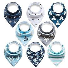 Bandana Drool Bibs Cotton Drool Bib for Teething Toddlers Infants Babies,Infant Toddler Unisex Baby 100% Cotton Bandana Drool Bibs Set (4packs,8packs,12packs,16packs)