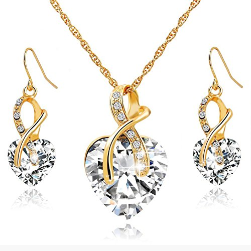 Morenitor Wedding Jewelry Necklace Earrings