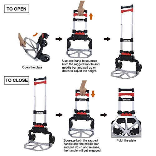 Finether Cart Aluminum Folding 2-wheel Hand Cart Lightweight Portable Hand Truck/Dolly with Collapsible and Detachable Box by Finether (Image #2)