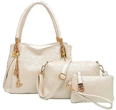 5e93aa2ce89d Amazon.com  BG174  Women Butterfly Pendant 3 Pieces Beige Shoulder Handbags   Shoes