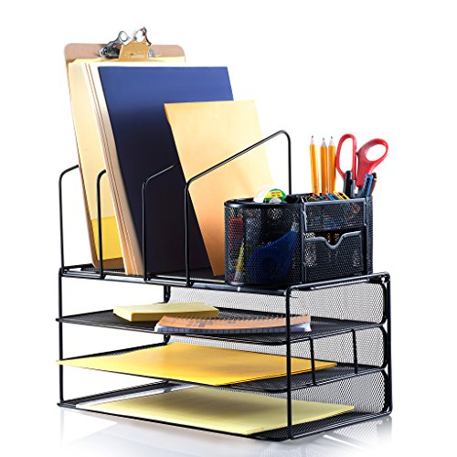 desk organizer set All in adjustable desktop organizer, comes with removable extra supply organizer caddy
