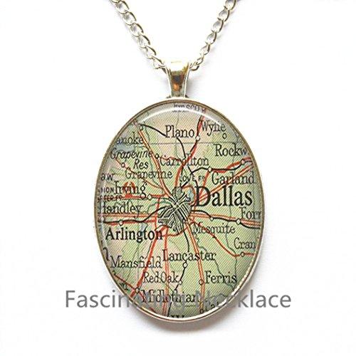 Charming Necklace Dallas map Pendant, Dallas map Necklace, Dallas Pendant, Dallas Necklace, map - Arlington Map Highlands