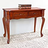 queen anne sofa table - International Caravan 3808-IC Furniture Piece Carved Wood 2 Drawer Queen Anne Hall Table