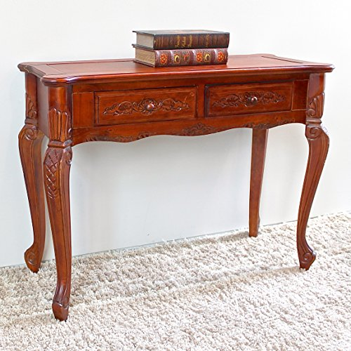 International Caravan 3808-IC Furniture Piece Carved Wood 2 Drawer Queen Anne Hall Table Queen Anne Hall Table