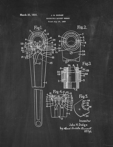 Reversible Ratchet Wrench Patent Print Chalkboard (13