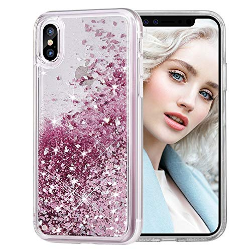 Maxdara Case for iPhone X/iPhone Xs Glitter Case Liquid Flowing Luxury Bling Sparkle Glitter Shockproof Girls Women Case X/XS 5.8 inches (Rosegold)