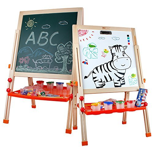 Life&Fun Standing Art Easel Wooden Multifunctional Drawing Board Chalk Board, Dry Erase Board with Tray, Paper Roll and Accessories for Children Kids