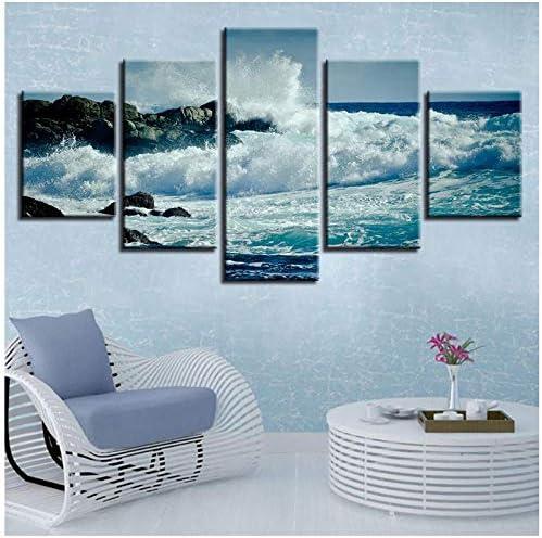 写真HDプリントインテリアルームウォール5ピース激しい海水リーフに対してシースケープキャンバスペインティングアート(フレームなし