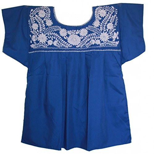 UPC 700443611862, Liliana Cruz Women's Mexican White Embroidered Blouse (Blue, 2X)