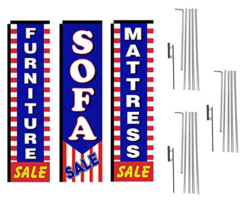 Mattress and Furniture Outlet Advertising Package of 3 Rectangle Feather Banner Flag Kits and Ground Stakes, Mattress Sale, Furniture Sale, Sofa Sale