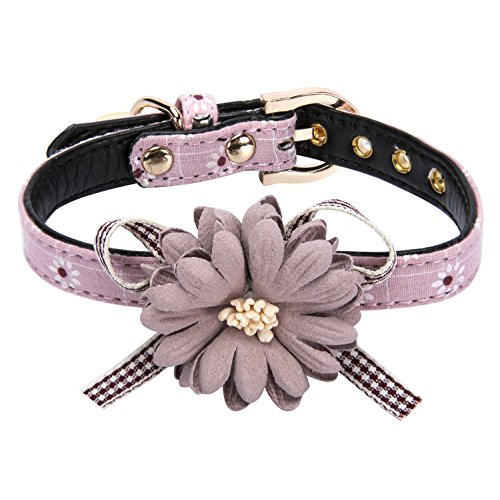 Puppy Flower - StrawberryEC Puppy Collars for Small Dogs Adjustable Puppy Id Buckle Collar Leather. Cute Pink Puppy Collar (Pink-Flower)