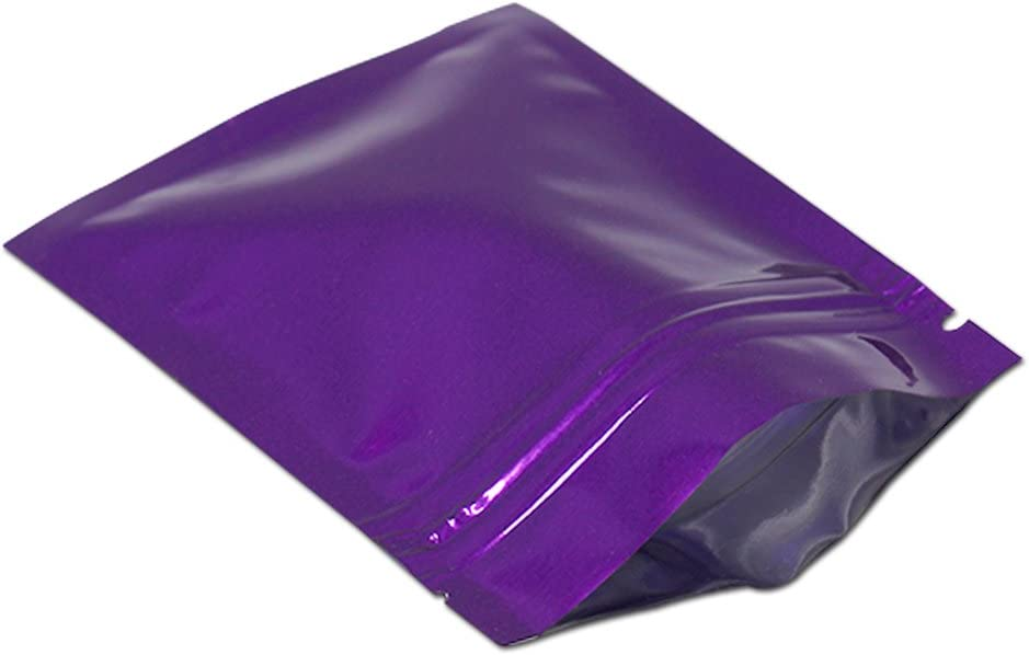 100 Pieces 2.3x3.1 inch Purple Color for Zip Reusable Small Aluminumfoil Lock Package Bag Candy DIY Chocolate Coffee Nut Food Long Term Storage Zipper Lock Packaging Bag with Tear Notch