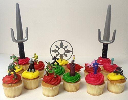 "Price comparison product image Teenage Mutant Ninja Turtles 15 Piece Birthday Cupcake Topper Set Featuring 2"" to 3"" Cupcake Toppers of Sensei Splinter,  Donatello,  Leonardo,  Raphael,  Michelangelo,  April,  Shredder,  Kraang and Themed Decorative Accessories"
