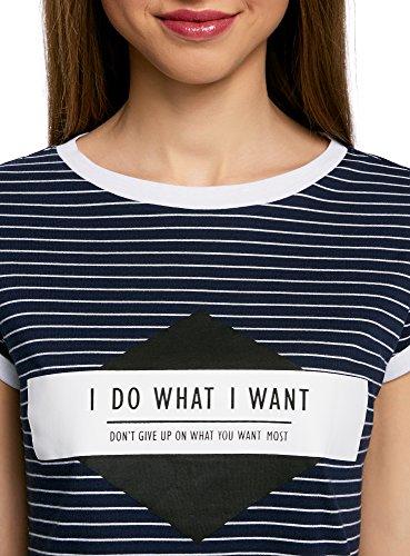 oodji Ultra Mujer Camiseta a Rayas con Estampado en el Pecho Azul (7910S)
