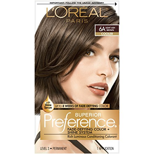 Hair Coloring System - L'Oréal Paris Superior Preference Fade-Defying + Shine Permanent Hair Color, 6A Light Ash Brown, 1 kit Hair Dye