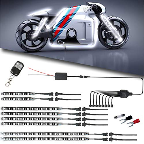 (Motorcycle LED Light Kit Strips Multi-Color Accent Glow Neon Ground Effect Atmosphere Lights Lamp with Wireless Remote Controller for Harley Davidson Honda Kawasaki Suzuki (Pack of 8))