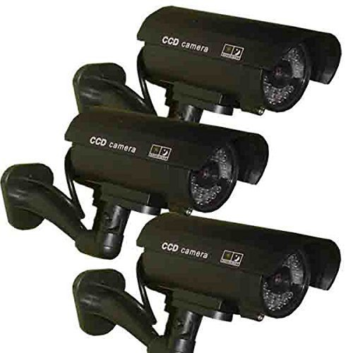 3 Pack - JYtrend (TM) Outdoor Dummy Fake Security Camera with Inflared Leds BLINKING LIGHT, Black