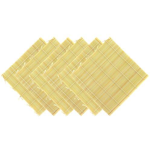 "BambooMN 6X Natural Bamboo Sushi Making Rolling Mats 9.5"" x 9.5"" (Set G)"