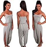 Party Jumpsuit, Han Shi Women Snash Neck Solid Sexy Sleeveless Clubwear Beach Trouser (S, Gray)