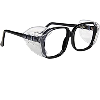 Auony Safety Glasses Side Shields, 2 Pairs Slip On Clear
