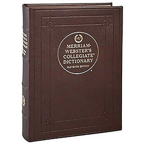 Desk Dictionary, Merriam-Webster Collegiate Edition, Genuine Goatskin Leather, 7-1/2'' x 10'', Mocha