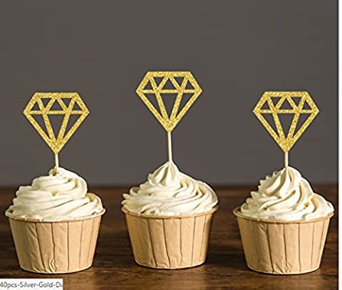 Diamond Donut Cupcake Toppers Bridal Shower Decorations Wedding-Engagement Ring Topper Picks Party Supplies - Black Diamond Cones