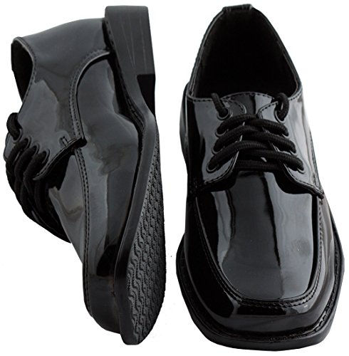 Toddler / Boys Black Square Toe Tuxedo Shoes - Size 12