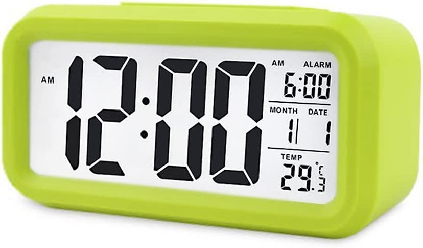 Digital Night Sensor Despertador LED Snooze Button Despertador – Iluminación Viaje activa Sensor de luz para alarma Luz de fondo medium verde