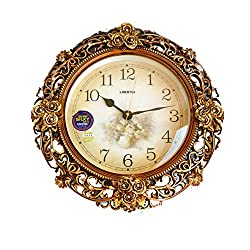 My Aashis European Style Retro Art Swing Wall Clock Quartz Clock Decoration Wall Clock Bedroom Mute Pocket Watch Crafts with Pendulum