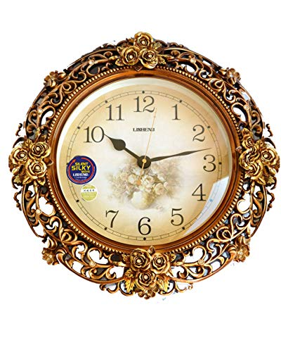 (My Aashis European Style Retro Art Swing Wall Clock Quartz Clock Decoration Wall Clock Bedroom Mute Pocket Watch Crafts with)