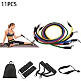 Xiton 11PCS/Set Exercise Resistance Bands Set Fitness Stretch Workout Bands 5 PCS Exercise Bands Fitness Tubes with Handles Latex Elastic Bands with Carry Bag for Home Gym Fitness