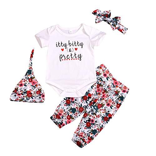4 pcs Baby Girls Pants Set Newborn Infant Toddler Letter Romper Arrow Heart Pants Hats Headband Clothes (White 01, 18-24 Months)