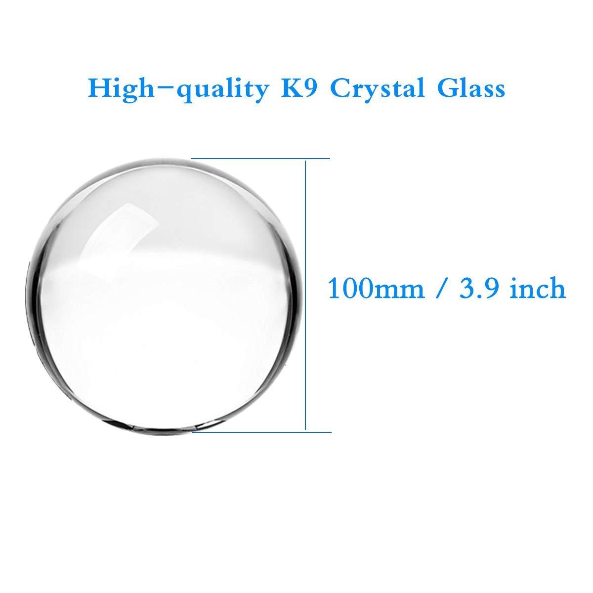 Tensphy K9 Boule de Cristal avec Support D/écor dart Clair K9 Cristal Prop pour la D/écoration de la Photographie