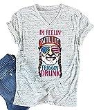 MAXIMGR Women's USA Flag Sunglasses Print T Shirt Funny Short Sleeve O-Neck Tees Blouse Size M (White)