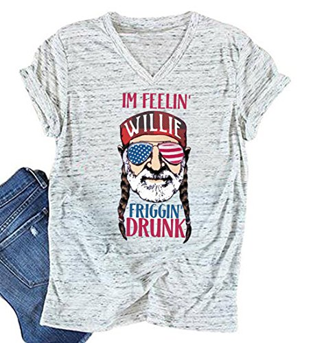 July Womens V-neck T-shirt - MNLYBABY Women American Flag Sunglasses Short Sleeve V Neck T Shirt 4th of July Funny Top Tees Size L (Light Grey)